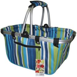 JanetBasket Blue Stripes Large Aluminum Frame Basket