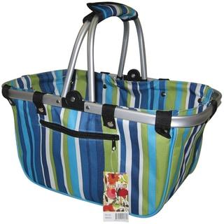 JanetBasket Blue Stripes Large Aluminum Frame Basket