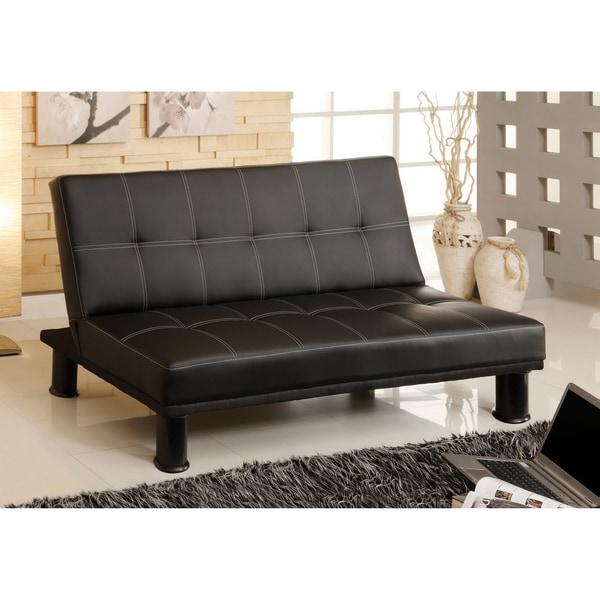 Furniture of America Pierce Black Leatherette Convertible Sofa O