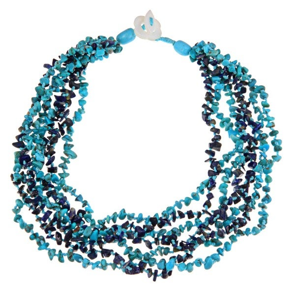 Glitzy Rocks Turquoise and Lapis Chip 7-row Necklace
