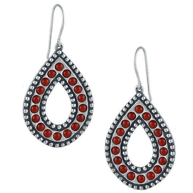 Southwest Moon Sterling Silver Red Coral Beaded Doorknocker Earrings