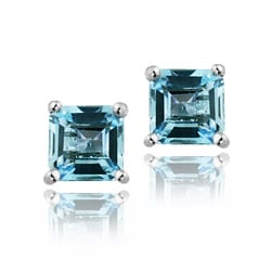 Glitzy Rocks Sterling Silver 5mm Princess Swiss Blue Topaz Stud Earrings
