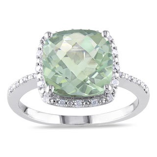 Miadora Sterling Silver Green Amethyst and 1/10ct TDW Diamond Ring (G-H, I3)