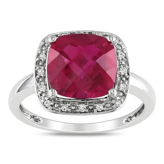 Miadora 10k White Gold Created Ruby and 1/10ct TDW Diamond Ring (G-H, I2)