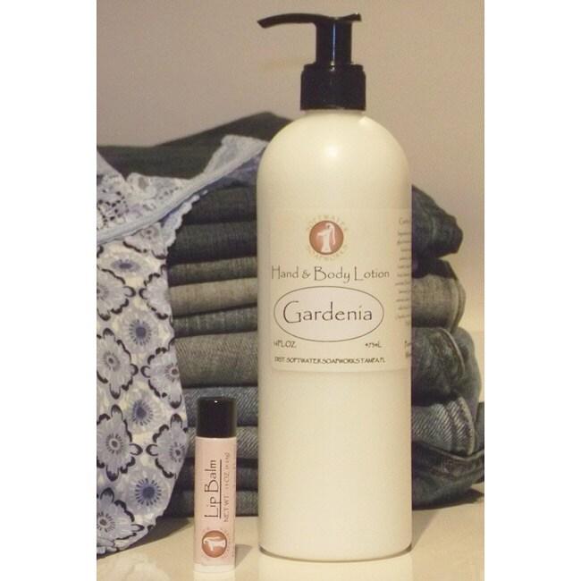 Softwater Soapworks Gardenia Hand/ Body Lotion and Raspberry Lip Balm Set