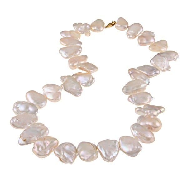 DaVonna 14k Gold over Silver White FW Keshi Pearl 18-inch Necklace (18-23 mm)