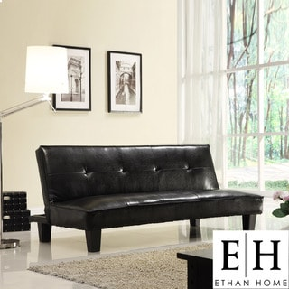 ETHAN HOME Bento Brown Faux Leather Modern Mini Futon Sofa Bed