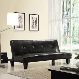 TRIBECCA HOME Bento Brown Faux Leather Modern Mini Futon Sofa Bed