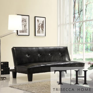 TRIBECCA HOME Bento Brown Faux Leather Modern Mini Futon Sofa Bed