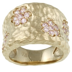 Rivka Friedman 18k Gold Overlay Pink Crystal Flower Ring