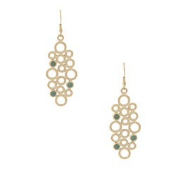 Rivka Friedman Gold Overlay Caribbean Blue Quartzite Dangle Earrings