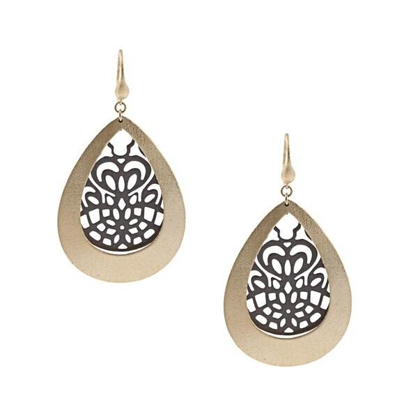 Rivka Friedman 18k Gold Overlay Esha Caged Teardrop Earrings