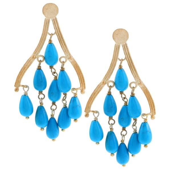 Rivka Friedman 18k Gold Overlay Blue Magnesite Chandelier Earrings