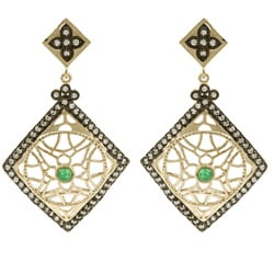 Rivka Friedman 18k Gold Overlay Esha Green Quartzite Earrings