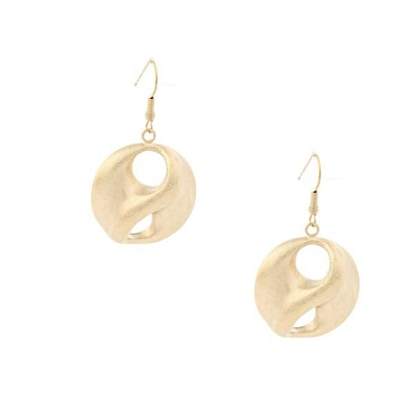 Rivka Friedman Gold Overlay Satin Swirl Dangle Earrings