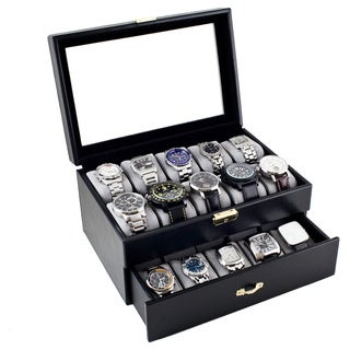 Caddy Bay Collection Black Leatherette 20 Watch Storage Box Case