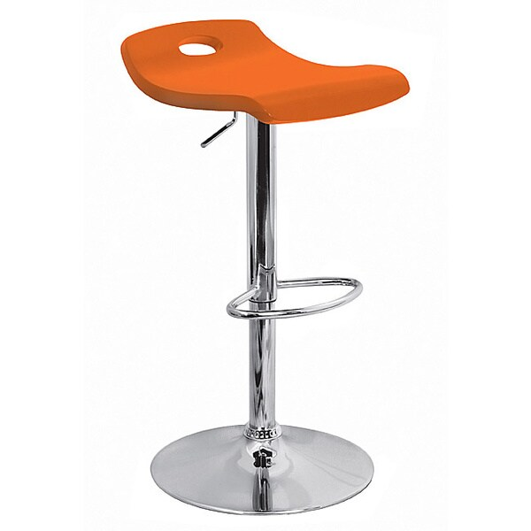 Orange Surf Curved Wood Barstool