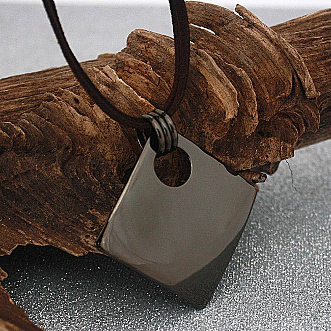Handcrafted Chocolate-Brown Square Necklace (Mexico)