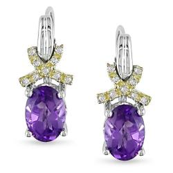 Miadora Silver and 10k Gold Amethyst and Diamond Accent Earrings
