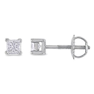 Miadora Platinum 1/2ct TDW Princess-cut Diamond Stud Earrings (G-H, SI1-SI2)