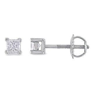 Miadora Signature Collection Platinum 1/2ct TDW Princess-cut Diamond Stud Earrings (G-H, SI1-SI2)