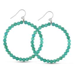 Miadora Sterling Silver Turquoise Beaded Hoop Earrings