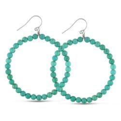 Miadora Sterling Silver Turquoise Beaded Hoop Earrings