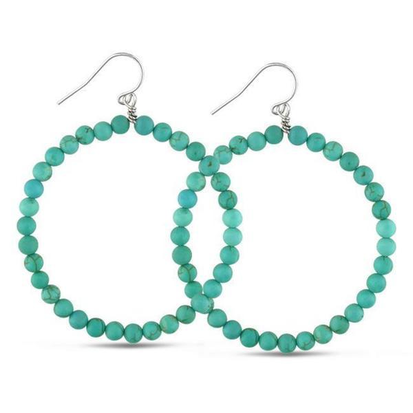 M by Miadora Sterling Silver Turquoise Beaded Hoop Earrings
