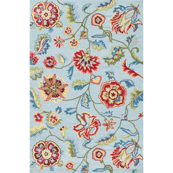 Hand-hooked Peony Blue Floral Rug (7'6 x 9'6)