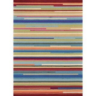 Hand-hooked Peony Multi Stripe Rug (3'6 x 5'6)