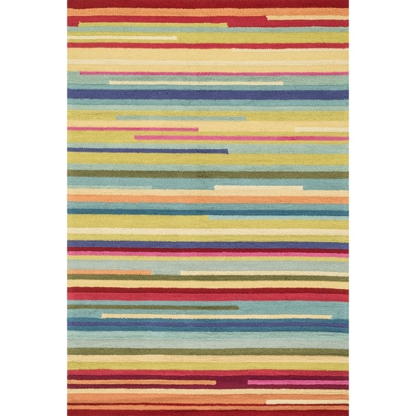 Hand-hooked Peony Multi Stripe Rug (5' x 7'6)