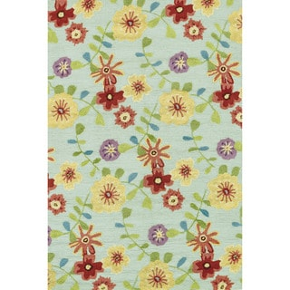 Hand-hooked Peony Celadon Multi Floral Rug (7'6 x 9'6)