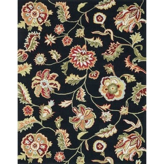 Hand-hooked Peony Black Floral Rug (7'6 x 9'6)