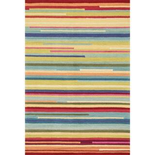 Hand-hooked Peony Multi Stripe Rug (2'3 x 3'9)