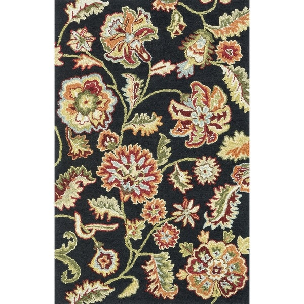 Hand-hooked Peony Black Floral Rug (3'6 x 5'6)