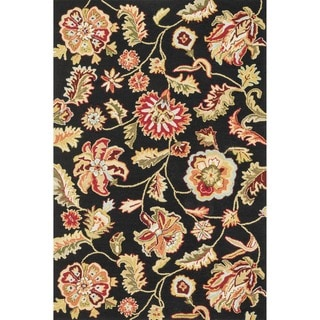 Hand-hooked Peony Black Floral Rug (5' x 7'6)