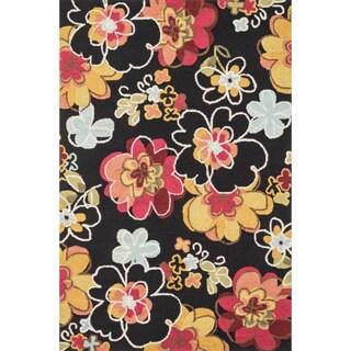 Hand-hooked Peony Black Multi Floral Rug (5' x 7'6)