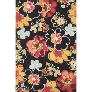 Hand-hooked Peony Black Multi Floral Rug (3'6 x 5'6)