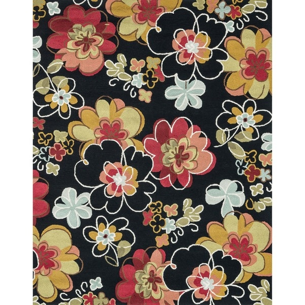 Hand-hooked Peony Black Multi Floral Rug (7'6 x 9'6)