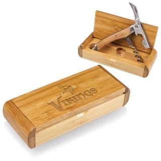 Picnic Time Elan Bamboo Minnesota Vikings Corkscrew and Bamboo Box - Brown