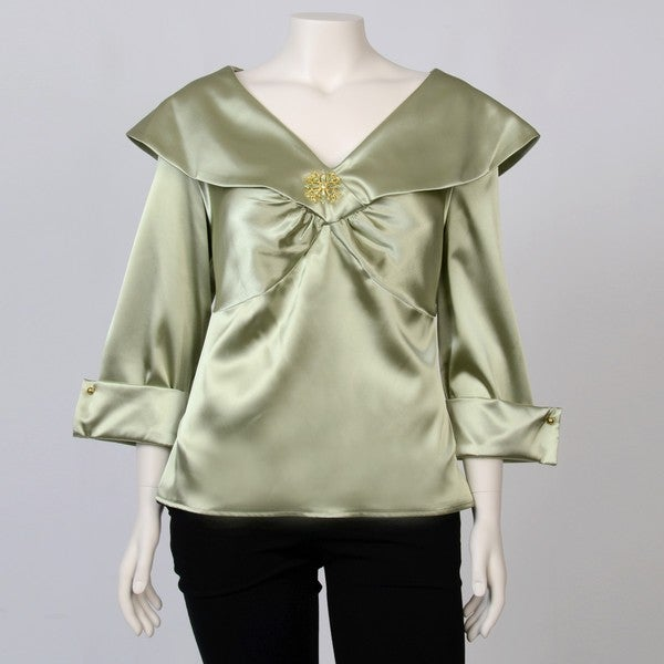 Onyx Nites Women's Plus Size Portrait Collar Embellished Satin Top