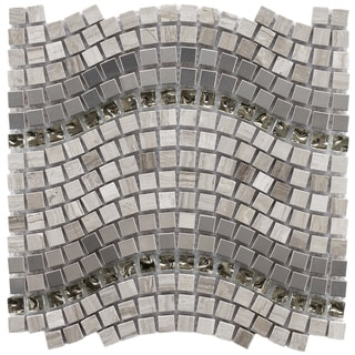 SomerTile 12.25x11.75-inch Reflections Wave Mercury Glass/ Stone/ Metal Mosaic Tile (Pack of 10)
