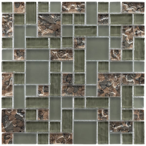 SomerTile 11.75x11.75-inch Reflections Versailles Ranier Glass Mosaic Tile (Pack of 10)