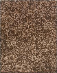 Julie Cohn Hand-knotted Contemporary Brown/Tan Fullerton Semi-Worsted New Zealand Wool Abstract Rug (8' x 11')