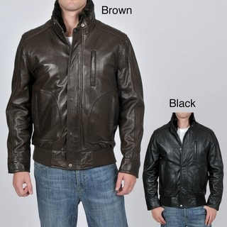 Knoles & Carter Men's Big & Tall Faux Fur-lined Leather Bomber Jacket