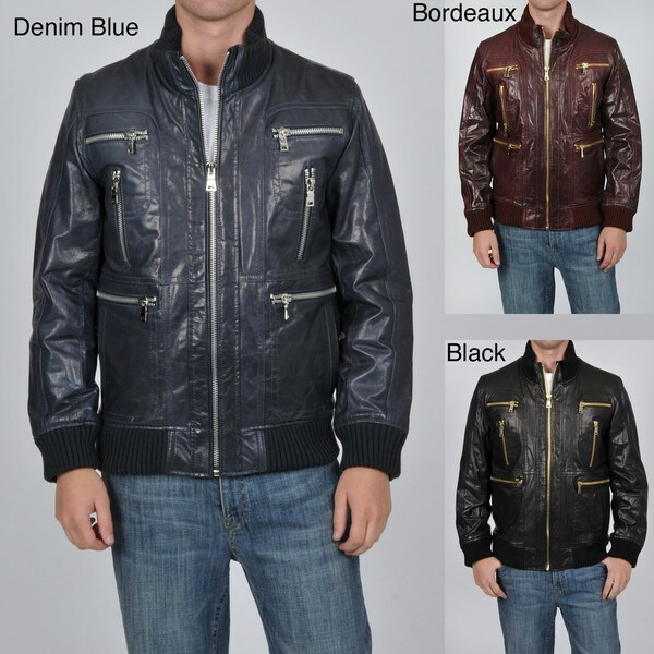 Knoles & Carter Men's Big and Tall Multi Zip Leather Bomber Jacket