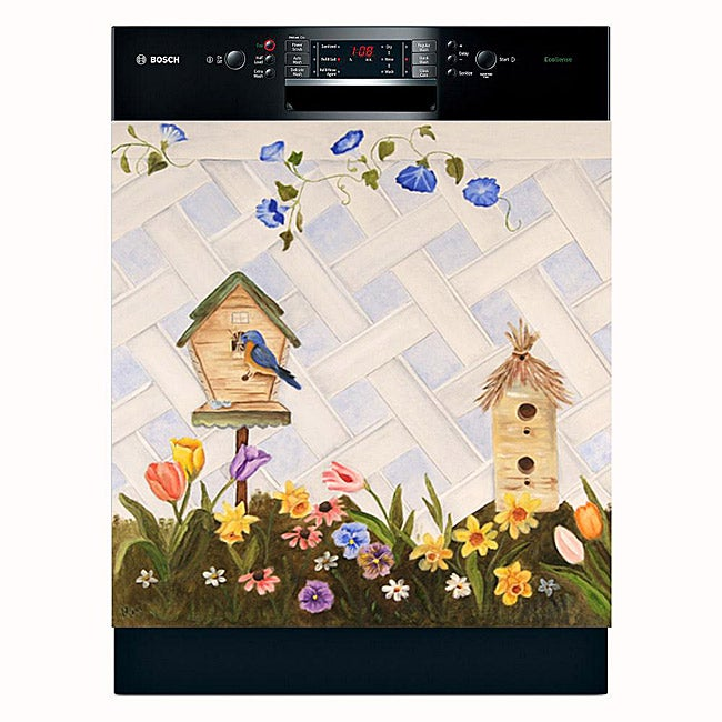 Appliance Art 'Blue Bird and Spring Flowers' Dishwasher Cover