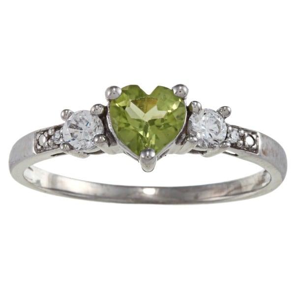 Gioelli Sterling Silver Peridot Heart Ring