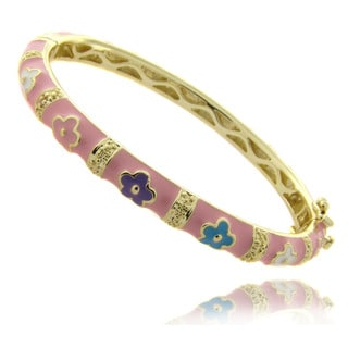 Molly and Emma 14k Gold Overlay Children's Pink Flower Bangle Bracelet