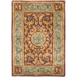 Handmade Aubusson Bonnelles Red/ Beige Wool Rug (2' x 3')